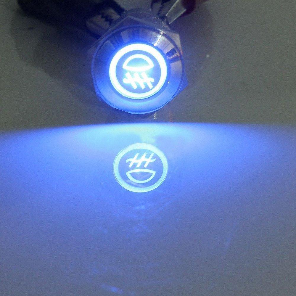 E Support 16mm KFZ Auto Kippschalter Wippschalter Druckschalter Schalter Drucktaster 12V Blau LED Licht Metall Fernlicht