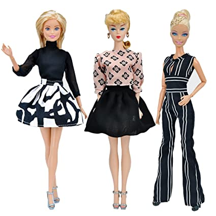 0c7a4ad21e38 Amazon.com  E-TING Handmade Doll Clothes Short Skirt Jumpsuits Office Style  Wears Dress for Girl Dolls (3 Sets)  Toys   Games