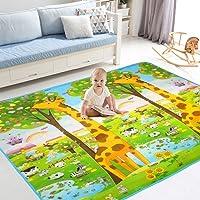 hollylife Tapis de Jeu Bebe Enfant 200 x 180 x 0.6CM Tapis d'eveil Antichoc Motif Double ¨Cface Dessin Girafe Lettre avec Sacs a Main Exquis