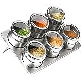 6 pcs/Set Kitchen Stainless Steel Spice Jars, Kitchen Convenient Storage Tank Set, for Pepper Salt Sugar Shaker Bottle with Trestle Spice Rack Round