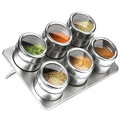 Cucina Barattoli Per Spezie in Acciaio Inox - STAGO 6 Pezzi Contenitori  Magnetico Per Spezie Pepe Sale Zucchero