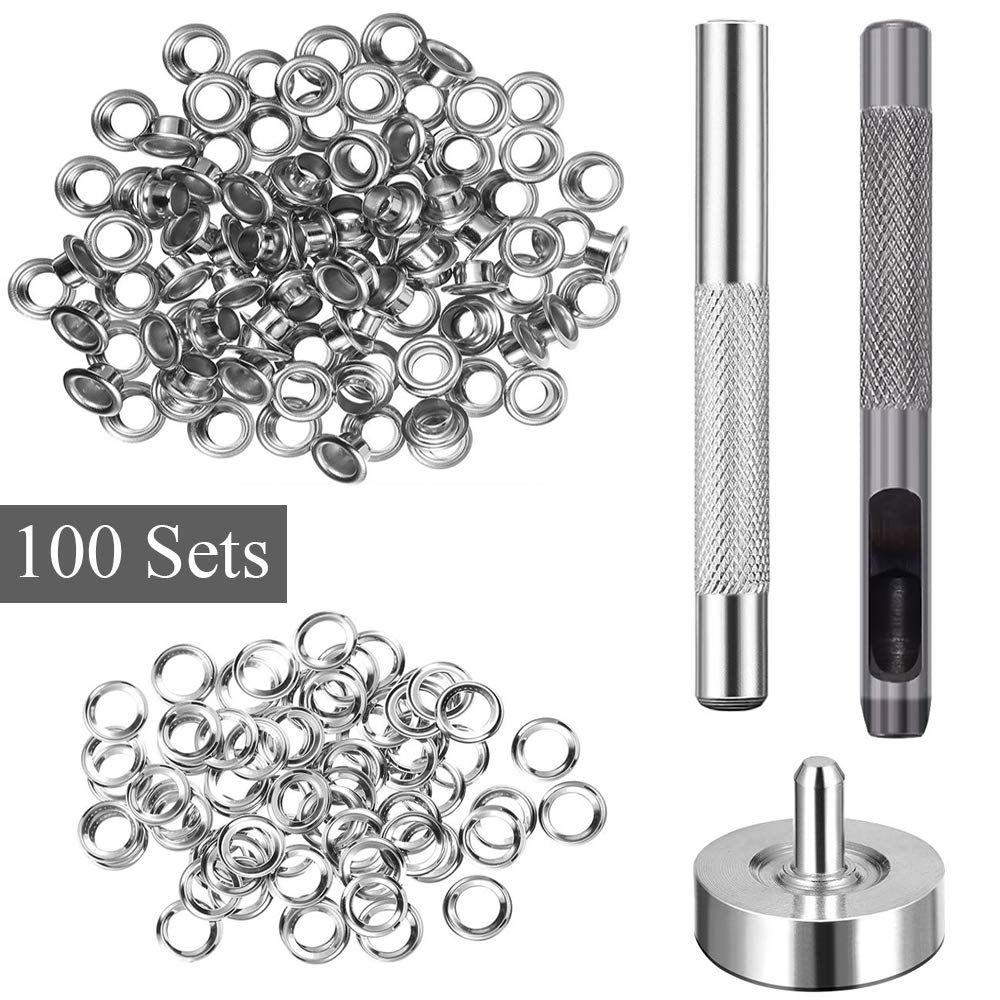 Storage Box Grommet Tool Kit for Leather Clothing Craft Making FOGAWA 100 Sets Eyelet Grommet with 3 Pcs Setting Tool 1//4 Inch Inside Diameter Metal Grommet Kit