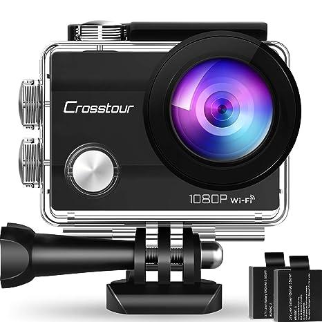 Crosstour WiFi Cámara Deportiva Acción 1080p Full HD 2.0 LCD Pantella Cámara Impermeable 2 Baterías 1050mAh 170 Grados Gran Ángulo Sumergible 30M y 20 ...
