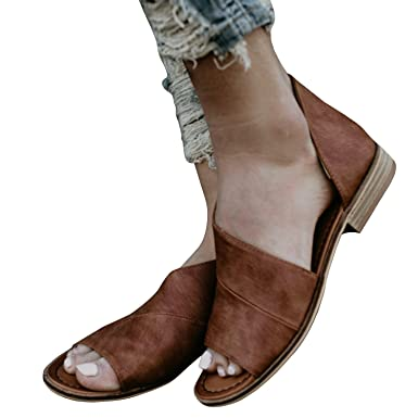 Amazon.com  Nulibenna Womens Open Peen Toe Flats Shoes Ankle Cut Out Dress  Sandals Casual Booties  Clothing 7a7e14534