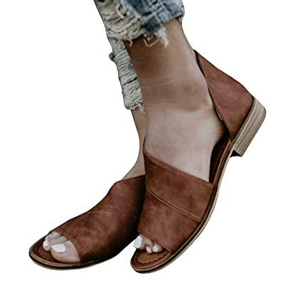 cdfddcfc64d Huiyuzhi Womens Open Toe Flat Sandals Side Laser Cutout Sandal Ankle  Booties Flats V brown 5