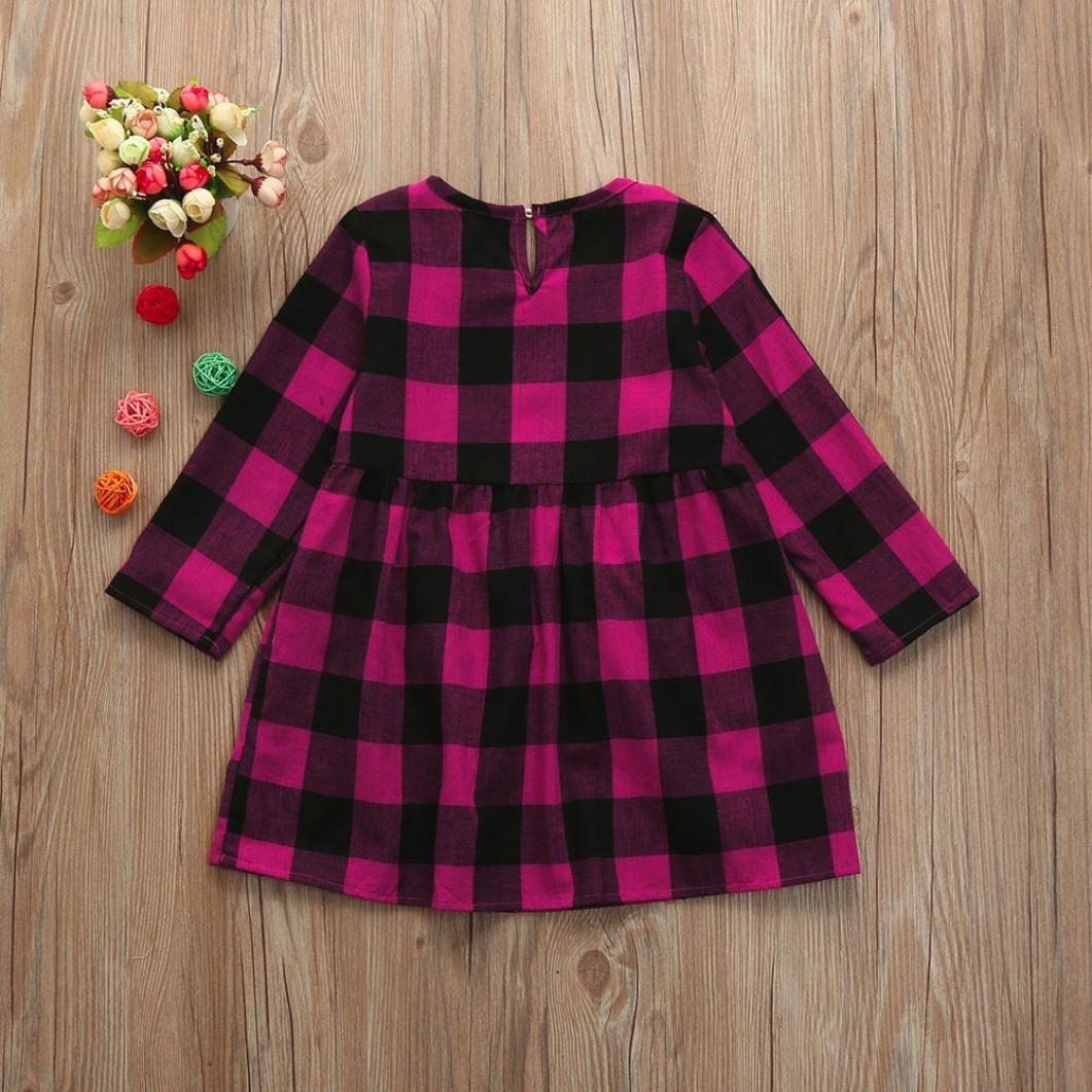 Goodtrade8 Toddler Baby Girl Long Sleeve Ruffle Princess Shirt Dresses Outfit Clothes