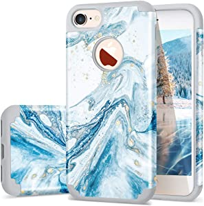 iPhone 7 Case, iPhone 8 Case, Fingic Marble Design Case Slim Glitter Bumper Hard PC Soft Rubber Silicone Anti-Scratch Shockproof Protective Phone Case Compatible with iPhone 7 / iPhone 8 4.7