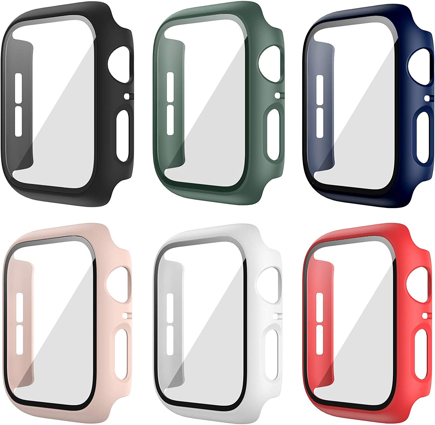 6 Pack Hard Case for Apple Watch Series 3 42mm with Built-in Tempered Glass Screen Protector,JZK Thin Bumper Full Coverage Bubble-Free Cover for iWatch Series 3/2/1 42mm Accessories