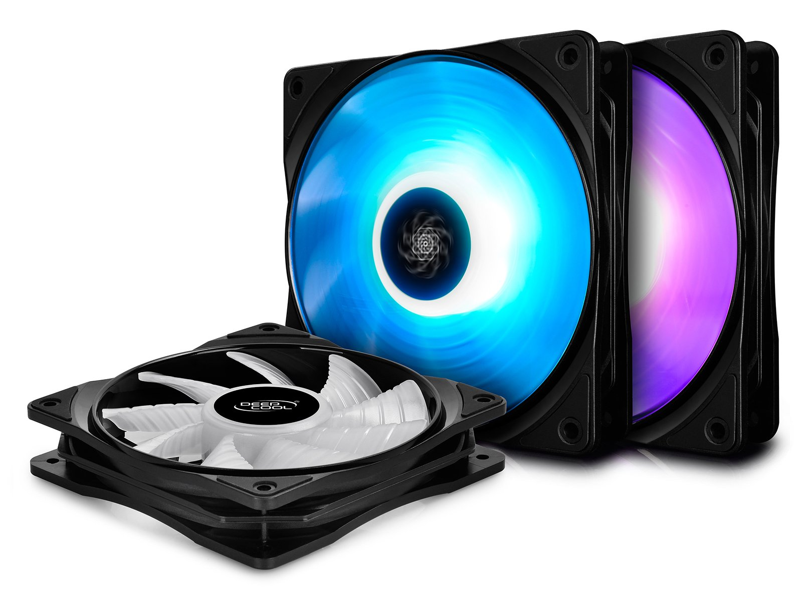DEEPCOOL RF120 3in1 3X120mm RGB LED PWM Fans with Fan Hub and Extension, Compatible with ASUS Aura Sync
