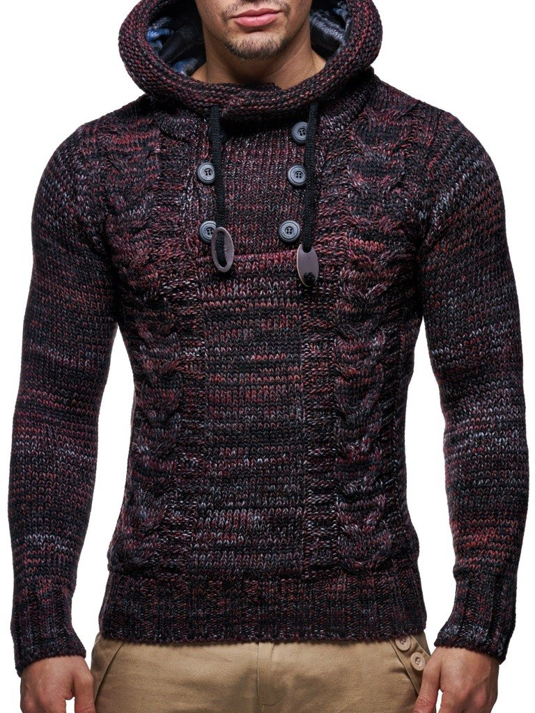 LEIF NELSON men's knitted pullover sweater hoodie jacket long sleeve slim fit 20227N-$P