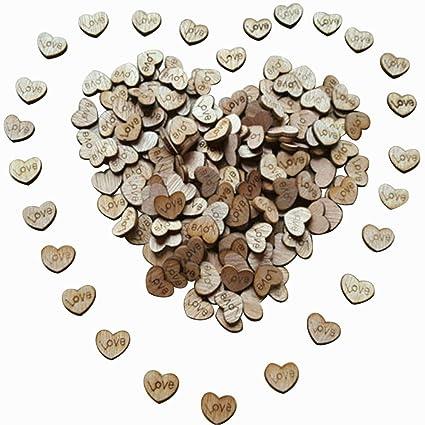 Amazon Com 100pcs Rustic Wooden Love Heart Wedding Table