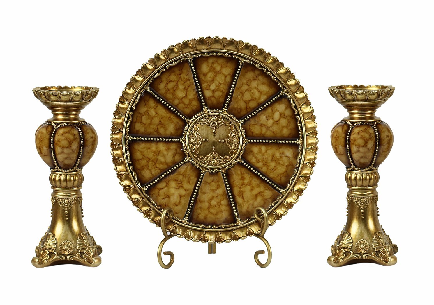 Charger Plate DLusso Designs Home D/écor Accent Shanta Collection 4 Piece Set Stand and 2 Candlesticks D/'Lusso Designs 1427-SW04