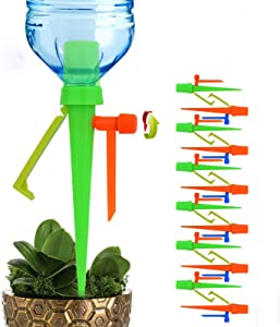 QWEQWE Universal Plant Self Watering Spikes Devices Anti-Down Plant Waterer Automatic Irrigation Spikes System with Slow Release Control Valve Switch System Suitable for All Bottles-12 Pack