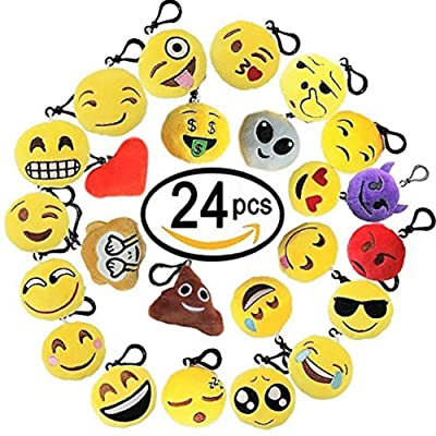Lot de 24 Mini Emoji Porte-clés Marrant Peluche Porte Clef Emoji Décorations Cadeau pour enfants