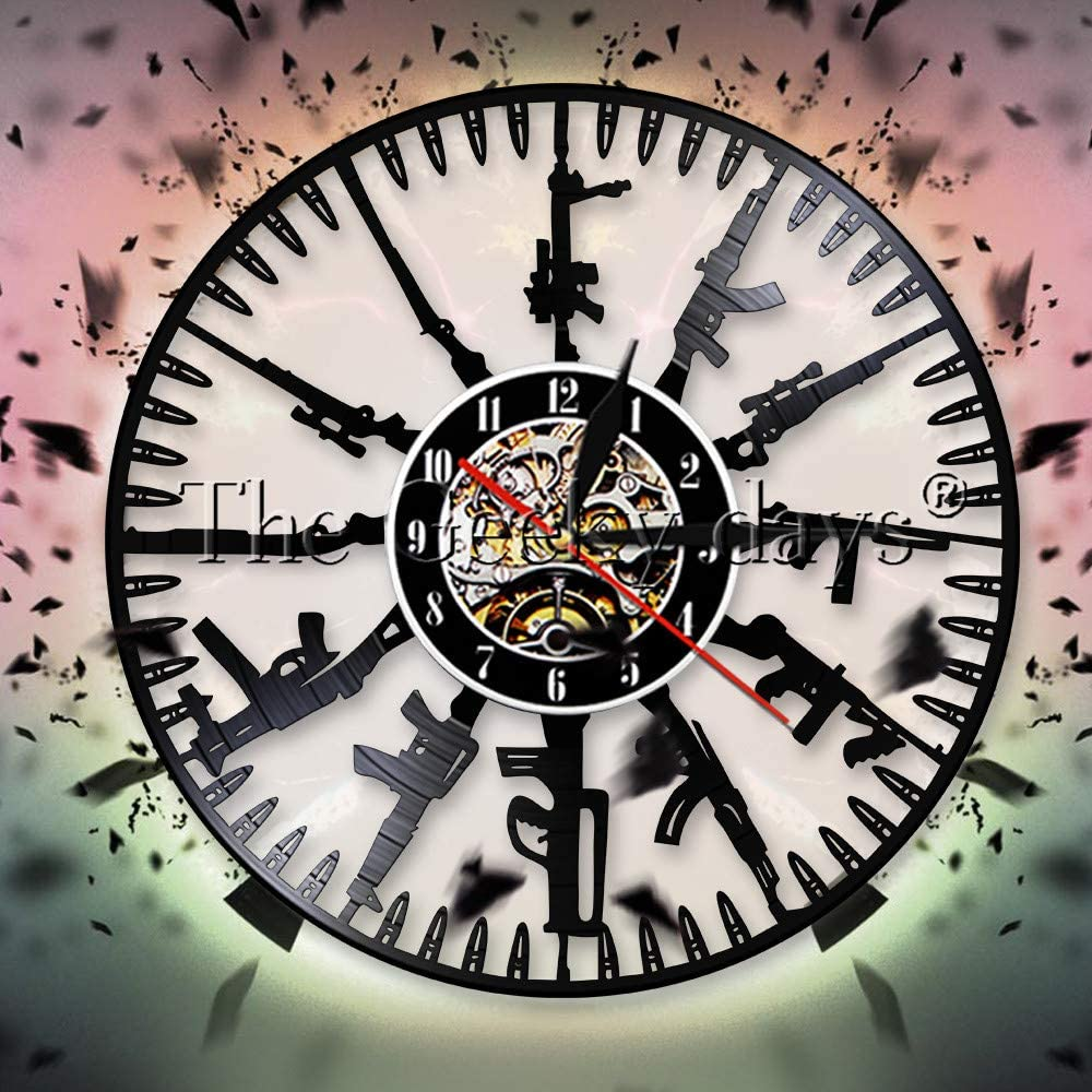 FDGFDG Bullet Time Reloj de Pared Diseño Moderno Pistola Familia Disco de Vinilo Reloj de Pared Decoración del ejército Reloj de Pared Soldado y Ventilador Militar Regalo