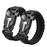 Amazon Price History for:Sahara Sailor 2 Pack Paracord Bracelet Multifunctional Survival Kit with Compass, Flint Fire Starter, Scraper and Whistle for Hiking Camping Emergency More