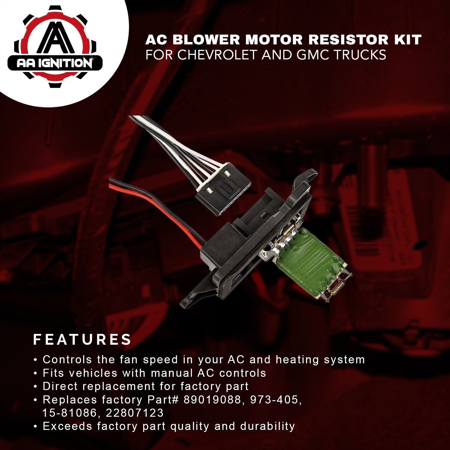 Ac Blower Motor Resistor Kit With Harness Replaces 97 C1500 Under Dash Wiring 89019088 973 405 15 81086 22807123 Fits Chevy Silverado Tahoe Suburban Avalanche