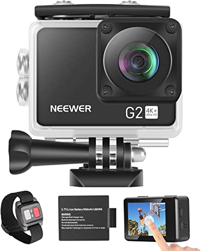 Neewer G2 4K WiFi Sports Action Camera with Touch Screen Ultra HD Waterproof DV Camcorder 12MP 4K 30FPS EIS 170 Degree Wide Angle WiFi Sports Cam with Remote Battery and Mounting Accessories Kit