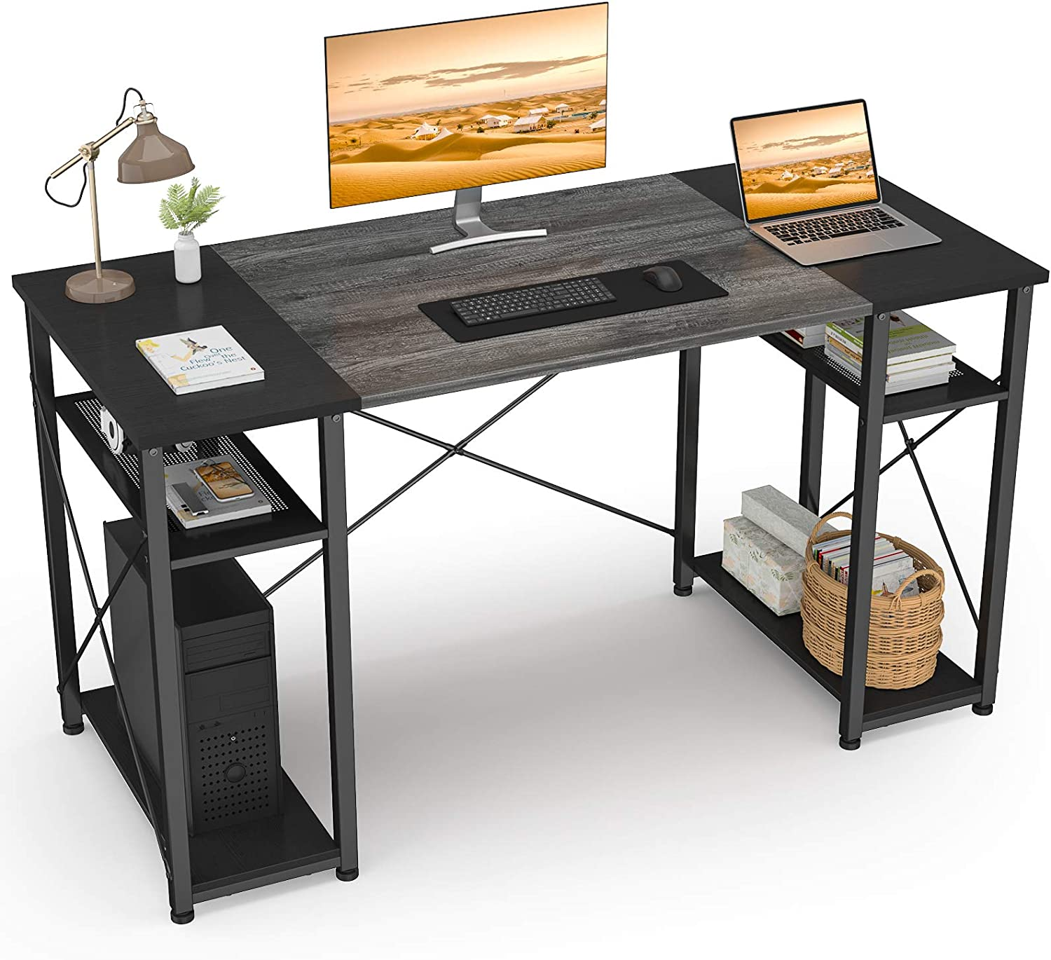 47 Inch Computer Desk with Shelves, Ecoprsio Home Office Desk Small Study Writing Table, Sturdy Modern Table Simple Laptop PC Desk with Splice Board, Oak and Black