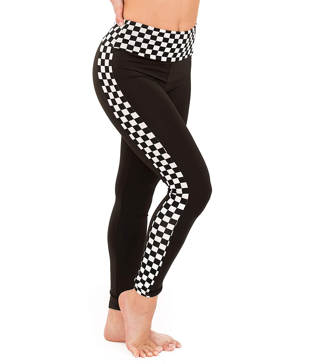 ff1af65c13e6a Amazon.com: Black-White Checkered Plaid Full Length Leggings - Patterned  Pants Side Stripe Plaid Costume Tights Yoga Pants: Clothing