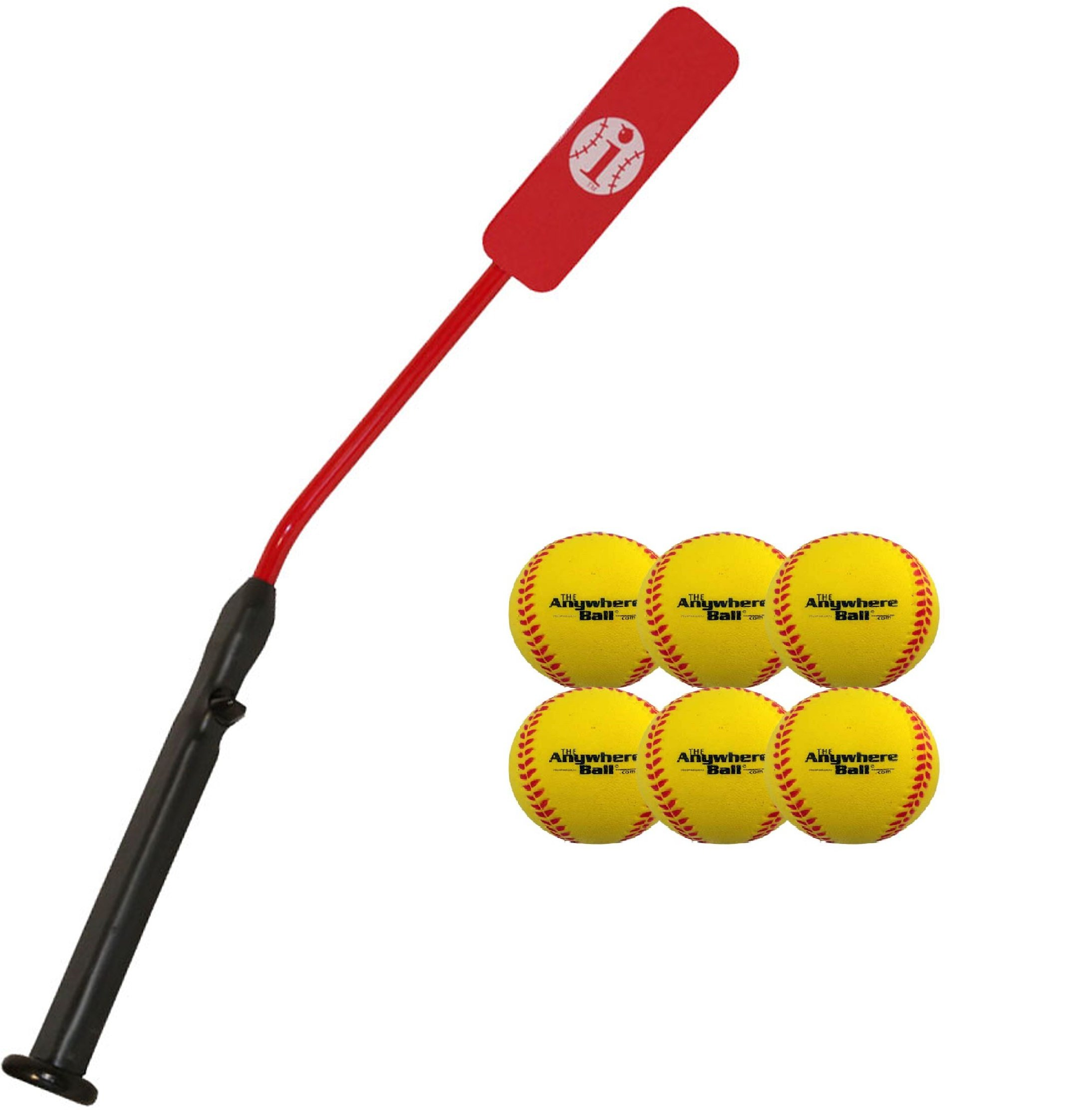 Insider Bat Size 6 and Anywhere Ball Complete Baseball Softball Batting Practice Kit (1 Bat & 6 Balls) by Mpo