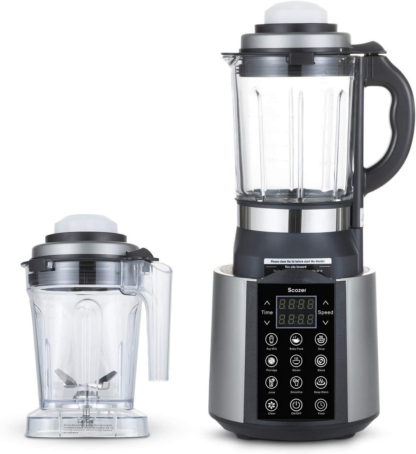 Countertop Blender, Scozer Cooking Blender, Hot and Cold, 9 One Touch Programs, 60 oz Glass Jar with One-Click Cleaning Function,800W Base with 2 Pitcher