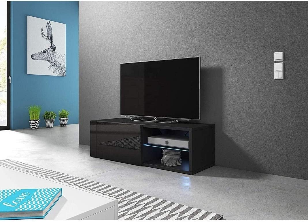 Meble Furniture /& Rugs Best Modern 39-79 TV Stand Matte Body High Gloss Doors with 16 Color LEDs Black
