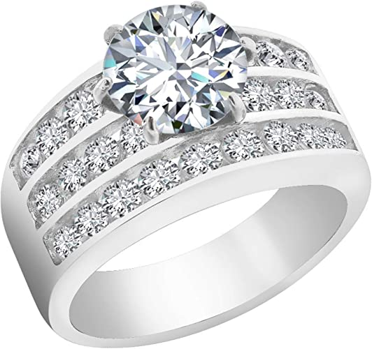 Amazon Com Stainless Steel Engagement Rings For Women Cubic
