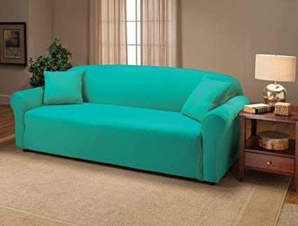 Genial Madison Stretch Jersey Sofa Slipcover, Solid, Aqua