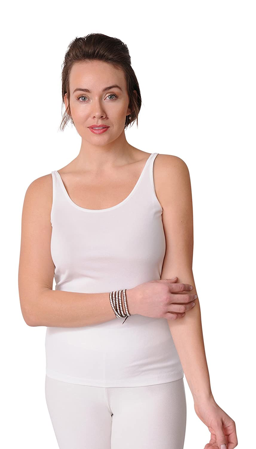 a4ccd7fd9d Amazon.com: Eileen Fisher Scoop Neck Long Cami in Stretch Silk Jersey (L,  Soft White): Clothing
