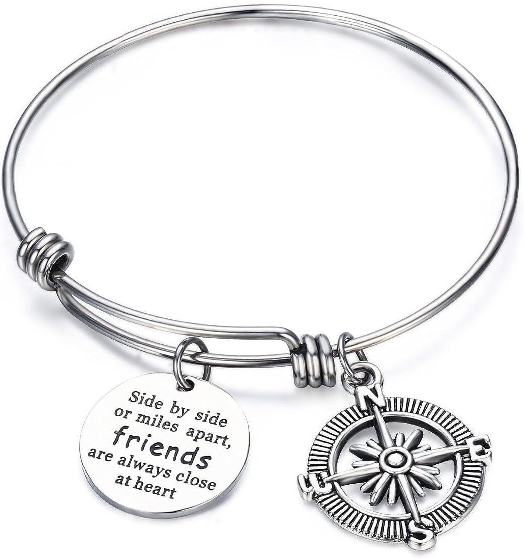 CJ&M Best Friend Bracelets - Side by Side Or Miles Apart Compass Best Friends Bangle Bracelets Adjustable,Long Distance Friendship Gifts,Sister Gift Jewelry