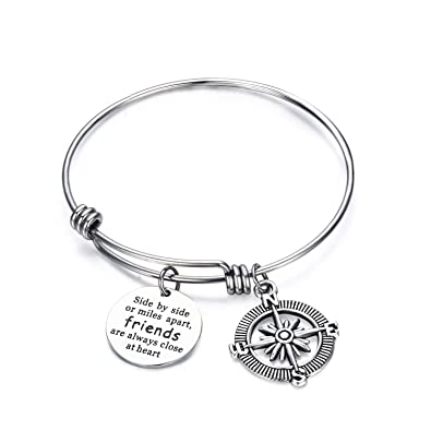 2d4c959454050 CJ&M Best Friend Bracelets - Side by Side Or Miles Apart Compass Best  Friends Bangle Bracelets Adjustable,Long Distance Friendship Gifts,Sister  Gift ...