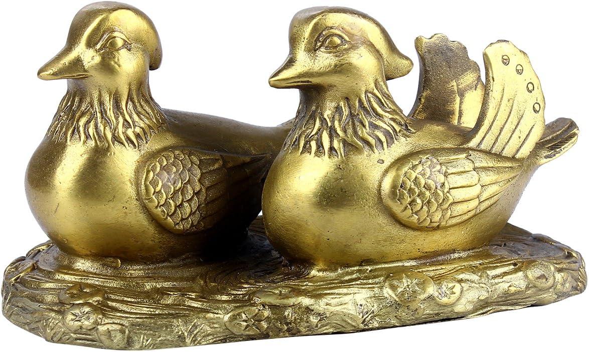 Chinese Fengshui Handmade Brass Mandarin Duck for Love Statue Figurine Home Decor Congratulatory Gift
