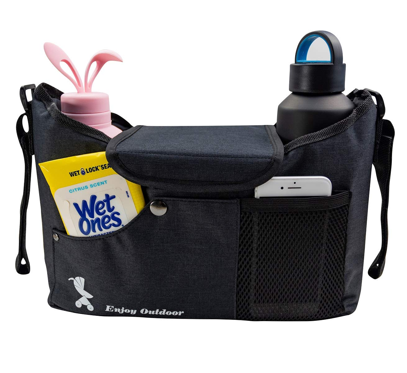 Baby Stroller Caddy Organizer Bag with Cup Holders Bonus Mosquito Net