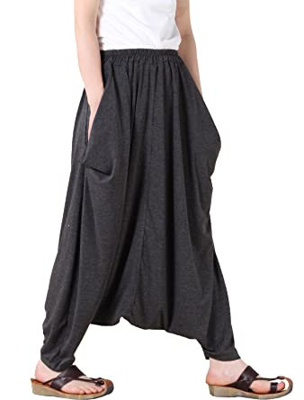 38c5d39ba4 Mordenmiss Women's Casual Drop Crotch Harem Pants Gray, One size at ...