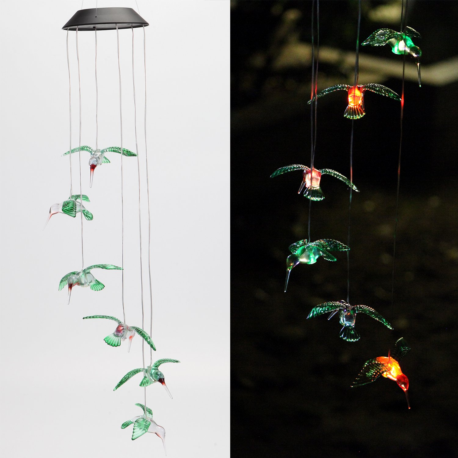 Isyunen Solar Six Hummingbird Wind Chimes Color-Changing Outdoor Waterproof Led Windlights for Home, Party,Night, Garden, Yard Decoration,Festival Decor,Valentines Gift (Colored Hummingbird)