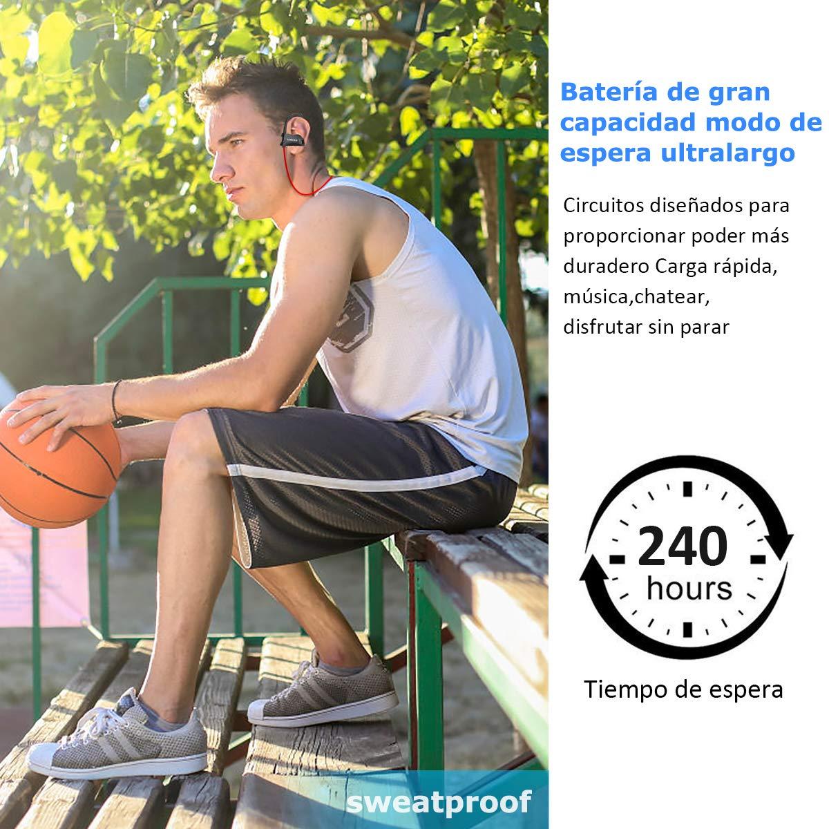 LOBKIN Auriculares Bluetooth Deportivos, Resistentes Al Sudor, con Una Autonomia de hasta 6 Horas Sonido. con Tecnologia CVC 6.0 de Eliminacion de Ruido(Rojo)