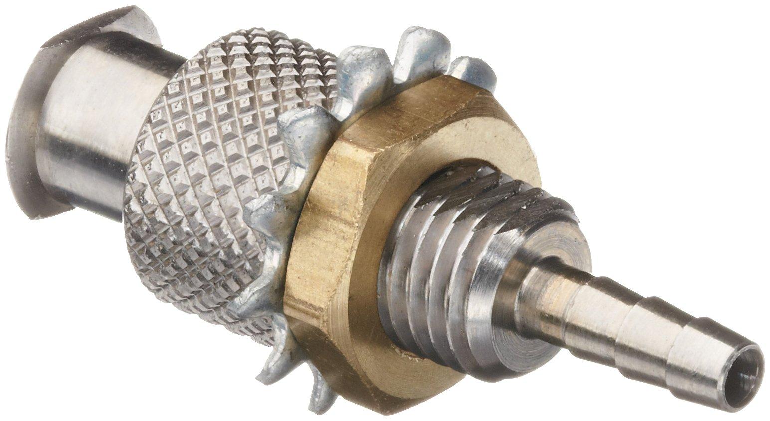 Luer Stainless Steel 316 Female Bulkhead Adaptor, For 3/32'' Tube, 1/4-32 Thread