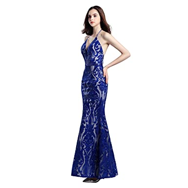f1c88fb4 Image Unavailable. Image not available for. Color: FeliciaDress Women's  Mermaid Prom Dresses Applique Sequins Halter ...