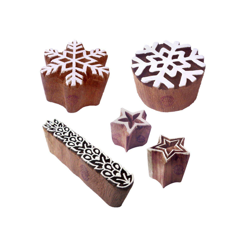 Royal Kraft Ceramiche Stampa Timbro Classy Fiocco Neve Stella Disegno Legno Blocchi (Set di 5) Htag1838