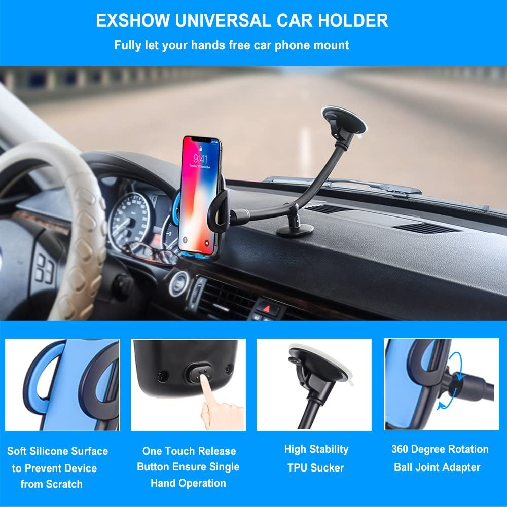 Nexus 5X//6P LG Blue HTC and All Phones 3.5-6.5 inch EXSHOW Car Mount,Universal Windshield Dashboard 8.5 inch Long Arm Car Phone Mount for iPhone 11// Xr// Xs Max//X//8//7//6S Plus Samsung Galaxy S10 S9