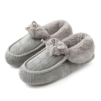 ChicNChic Women Plush Warm Moccasin Memory Foam Slippers Closed Back Knitted House Shoes with Indoor Anti-Skid Soft Rubber Sole | Slippers