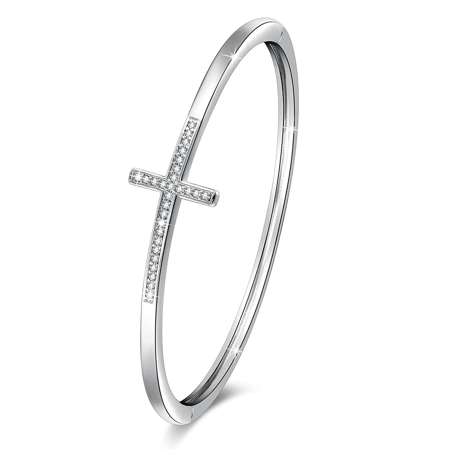 """fea763939480b GEORGE · SMITH Crystal Bangle Bracelet for Women """"Encounter of Love"""" 7  Inches White Gold Plated Charm Braceletswith Swarovski Crystals, Jewelry ..."""