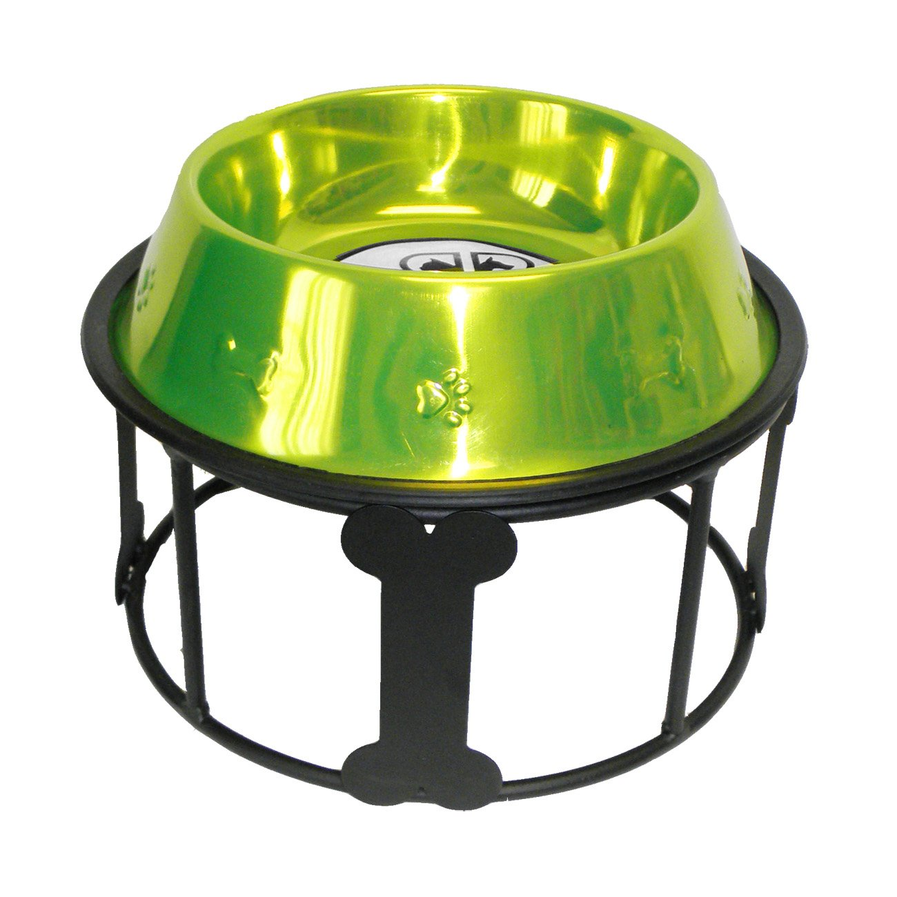 Lime Platinum Pets 64-Ounce Single Bones and Stripes Diner Stand with Lime No-Tip Embossed Bowl