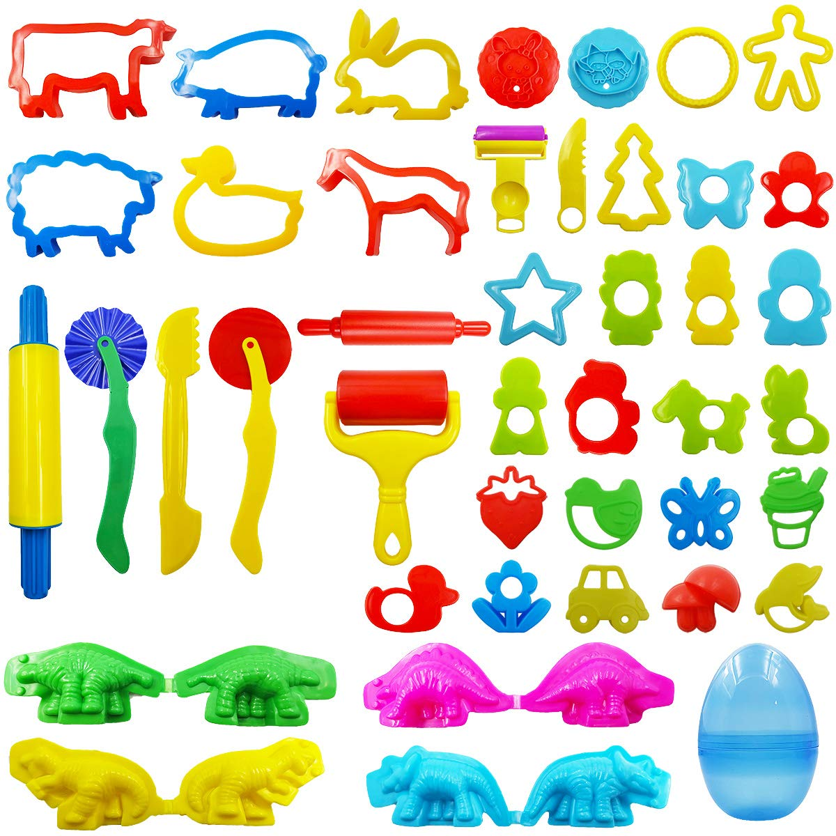 FRIMOONY Play Dough Tools Set for Kids, Various Plastic Animal Molds, Clay Rolling Pins, for Creative Dough Cutting, 44 Pieces by FRIMOONY
