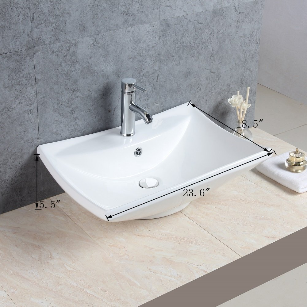Basong Above Counter Bathroom Rectangle Porcelain Ceramic Vessel Vanity Sink Art Basin White 23.6×18.5×5.5 In.with Pop-Up Drain