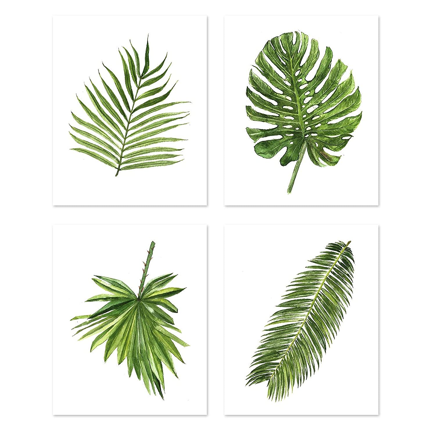 Green Leaf Art A077 Set Of 4 Art Prints 8x10 Green Wall Art Palm Leaf Wall Art Botanical Art Botanical Prints Wall Art Nature Art Botanical Painting