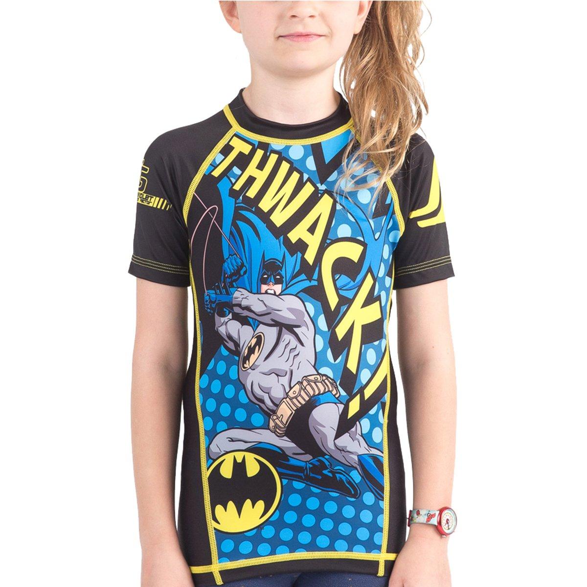 X-Small Short Sleeve Fusion Batman Thwack Kids Compression Shirt Rash Guard
