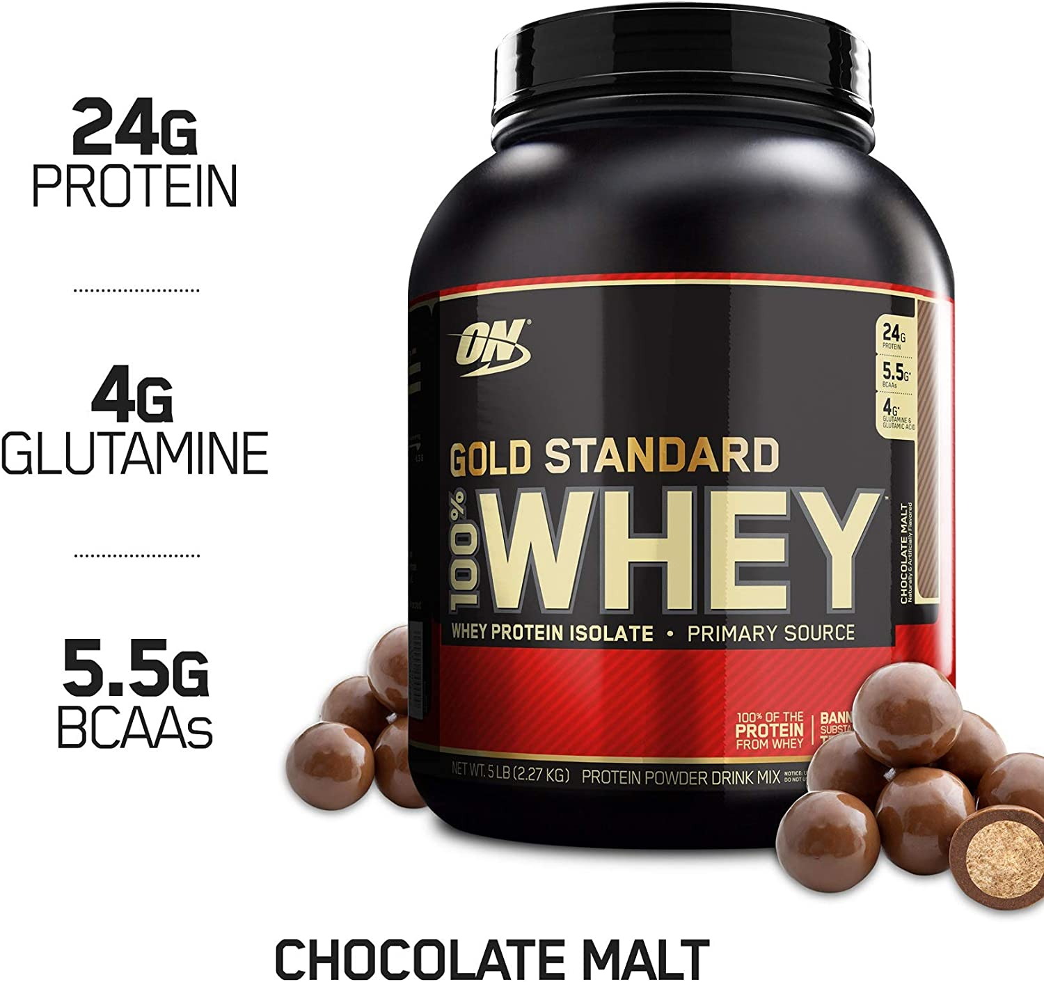 Optimum Nutrition Gold Standard 100 Whey Protein Powder, Chocolate Malt, 5 Pound