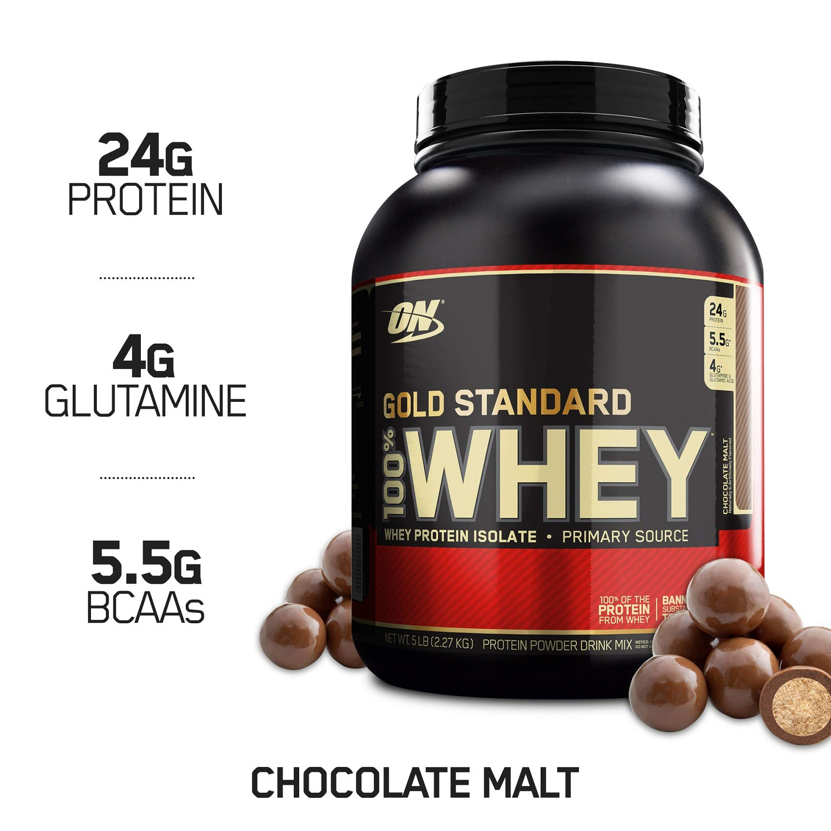 Optimum Nutrition Gold Standard 100% Whey Protein Powder, Chocolate Malt, 5 Pound by Optimum Nutrition
